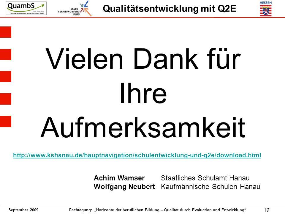 September 2009 Fachtagung: Horizonte der beruflichen Bildung – Qualität durch Evaluation und Entwicklung 19 Qualitätsentwicklung mit Q2E Vielen Dank f