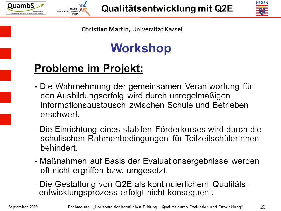 September 2009 Fachtagung: Horizonte der beruflichen Bildung – Qualität durch Evaluation und Entwicklung 20 Qualitätsentwicklung mit Q2E Workshop Prob