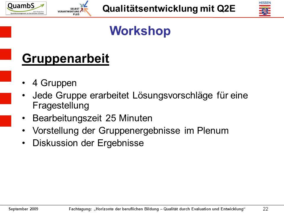 September 2009 Fachtagung: Horizonte der beruflichen Bildung – Qualität durch Evaluation und Entwicklung 22 Qualitätsentwicklung mit Q2E Gruppenarbeit