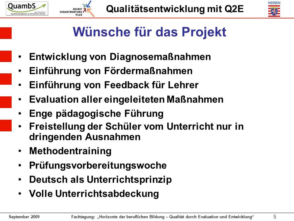 September 2009 Fachtagung: Horizonte der beruflichen Bildung – Qualität durch Evaluation und Entwicklung 5 Qualitätsentwicklung mit Q2E Wünsche für da