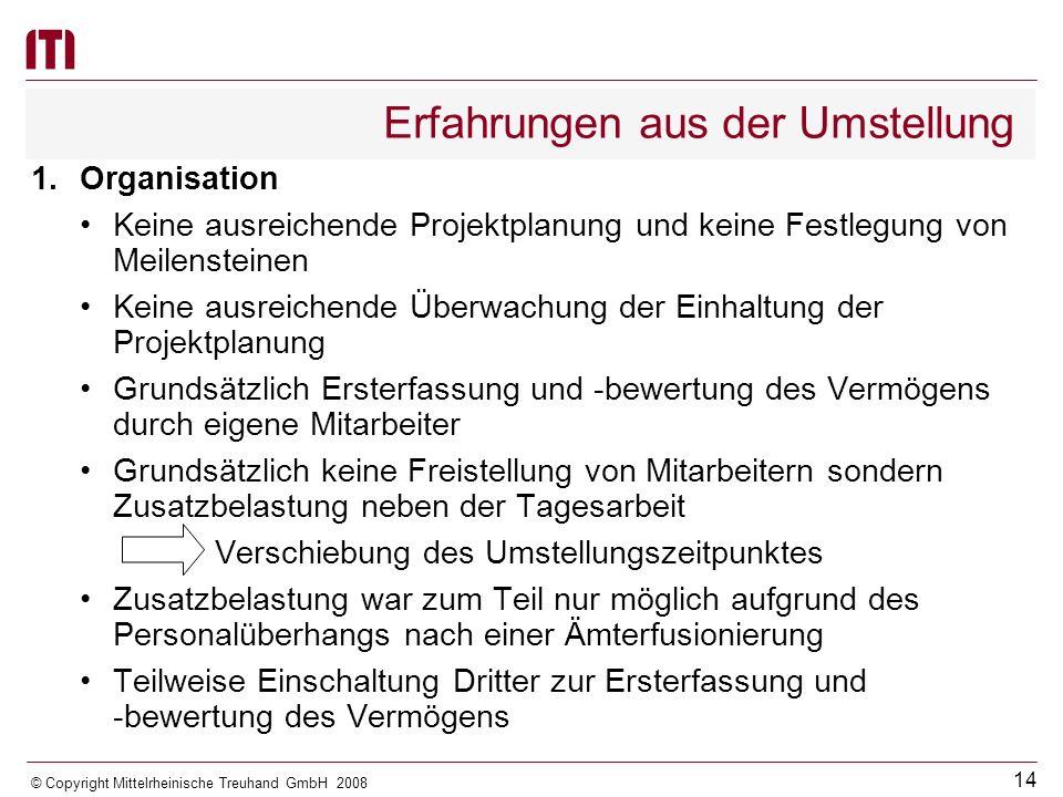 13 © Copyright Mittelrheinische Treuhand GmbH 2008 Rechtsgrundlagen Entwürfe von Verwaltungsvorschriften Leitfaden zur Bilanzierung und Bewertung des kommunalen Vermögens Überarbeitung geplant Anfang 2009 Regelungen zur Überleitung vom kameralen zum doppischen Haushalts- und Rechnungswesen Leitfaden zur Erstellung von Dienstanweisungen zur Organisation des Rechnungswesens
