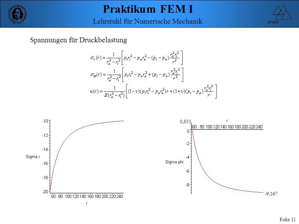 Praktikum FEM I Folie 11 Lehrstuhl für Numerische Mechanik Spannungen für Druckbelastung 0,833 -9,167