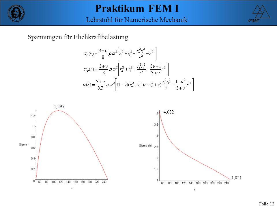Praktikum FEM I Folie 12 Lehrstuhl für Numerische Mechanik Spannungen für Fliehkraftbelastung 4,082 1,021 1,295