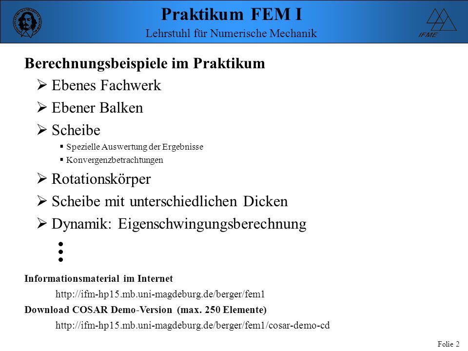 Praktikum FEM I Folie 2 Lehrstuhl für Numerische Mechanik Berechnungsbeispiele im Praktikum Ebenes Fachwerk Ebener Balken Scheibe Spezielle Auswertung