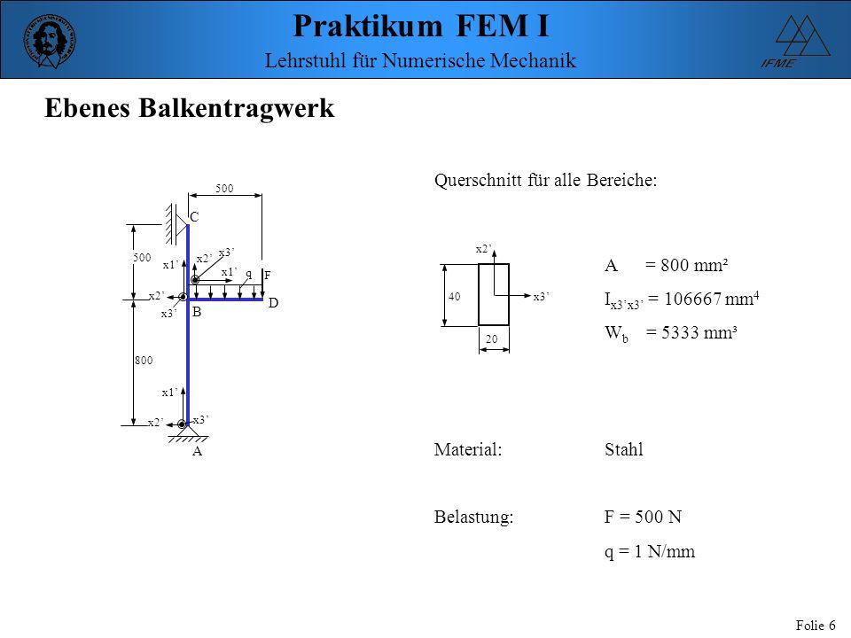 Praktikum FEM I Folie 6 Lehrstuhl für Numerische Mechanik Ebenes Balkentragwerk x1 x2 x3 x1 x2 x3 x1 x2 x3 q F C A D B 500 800 x2 x3 20 40 Querschnitt