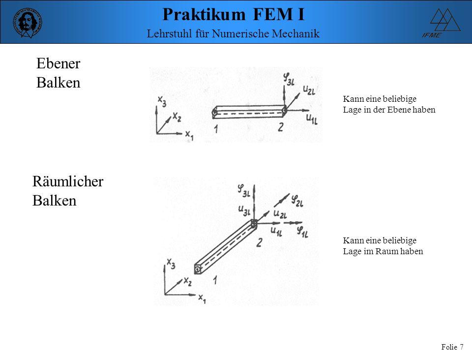 Praktikum FEM I Folie 8 Lehrstuhl für Numerische Mechanik b t dick r 2b Gelochte Scheibe b = 100 mm d = 40 mm t = 5 mm E = 210000 N/mm² = 0,3 p = 100 N/mm² p p x3 Patch 3 Patch 2 Patch 1 r x2 x1 x3 L6 L5L4 L3 L2 L1 P3 50,0,0 P2 20,0,0 L9 L8 L7 P6 50,50,0 P5 100,50,0 P4 100,0,0 P8 0,20,0 P7 0,50,0 P9 0,0,50 P1 0,0,0 Ausnutzung der doppelten Symmetrie Modellierung eines Viertels der Scheibe Anbringung von Symmetrierandbedinungen erforderlich: Verschiebung senkrecht zur Symmetrielinie muss Null gesetzt werden