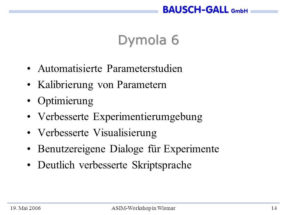 19. Mai 2006ASIM-Workshop in Wismar14 Dymola 6 Automatisierte Parameterstudien Kalibrierung von Parametern Optimierung Verbesserte Experimentierumgebu