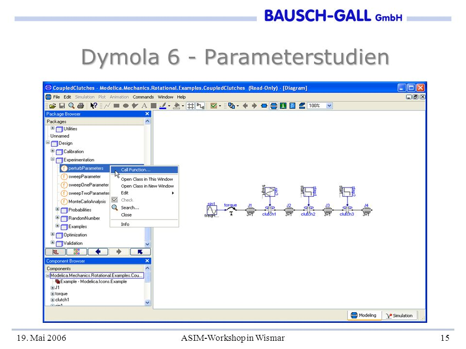 19. Mai 2006ASIM-Workshop in Wismar15 Dymola 6 - Parameterstudien