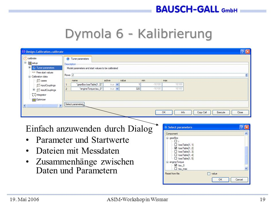 19. Mai 2006ASIM-Workshop in Wismar19 Dymola 6 - Kalibrierung Einfach anzuwenden durch Dialog Parameter und Startwerte Dateien mit Messdaten Zusammenh