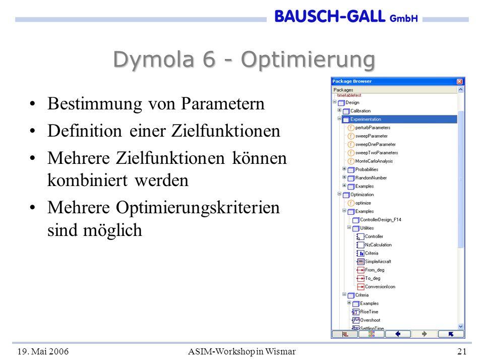 19. Mai 2006ASIM-Workshop in Wismar21 Dymola 6 - Optimierung Bestimmung von Parametern Definition einer Zielfunktionen Mehrere Zielfunktionen können k