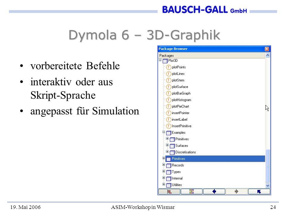 19. Mai 2006ASIM-Workshop in Wismar24 Dymola 6 – 3D-Graphik vorbereitete Befehle interaktiv oder aus Skript-Sprache angepasst für Simulation