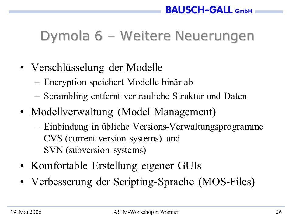 19. Mai 2006ASIM-Workshop in Wismar26 Dymola 6 – Weitere Neuerungen Verschlüsselung der Modelle –Encryption speichert Modelle binär ab –Scrambling ent