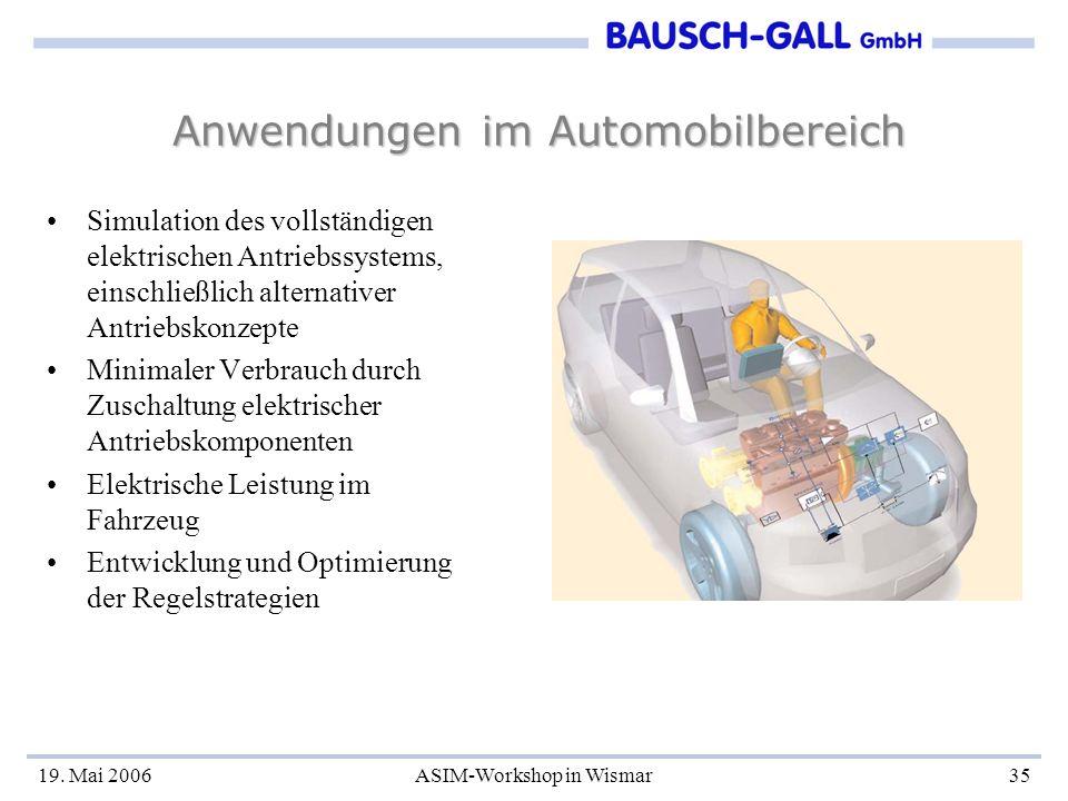 19. Mai 2006ASIM-Workshop in Wismar35 Anwendungen im Automobilbereich Simulation des vollständigen elektrischen Antriebssystems, einschließlich altern