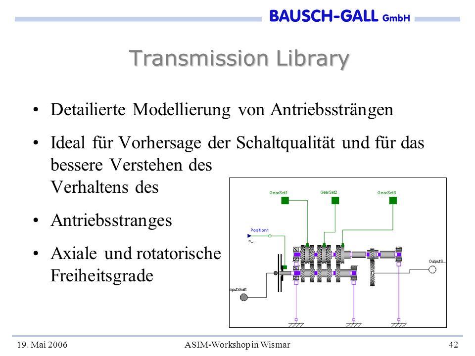 19. Mai 2006ASIM-Workshop in Wismar42 Transmission Library Detailierte Modellierung von Antriebssträngen Ideal für Vorhersage der Schaltqualität und f