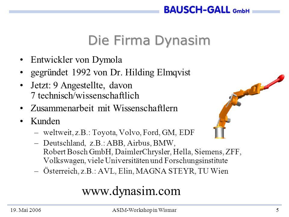 19. Mai 2006ASIM-Workshop in Wismar5 Die Firma Dynasim Entwickler von Dymola gegründet 1992 von Dr. Hilding Elmqvist Jetzt: 9 Angestellte, davon 7 tec