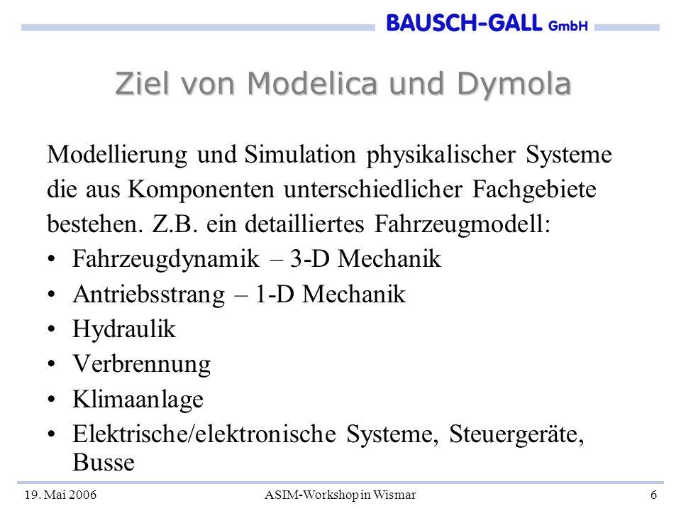19. Mai 2006ASIM-Workshop in Wismar6 Ziel von Modelica und Dymola Modellierung und Simulation physikalischer Systeme die aus Komponenten unterschiedli