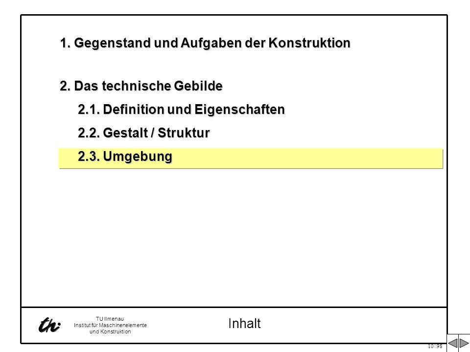 10/.98 TU Ilmenau Institut für Maschinenelemente und Konstruktion Inhalt 1. Gegenstand und Aufgaben der Konstruktion 2. Das technische Gebilde 2.1. De