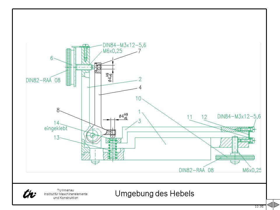 10/.98 TU Ilmenau Institut für Maschinenelemente und Konstruktion Umgebung des Hebels