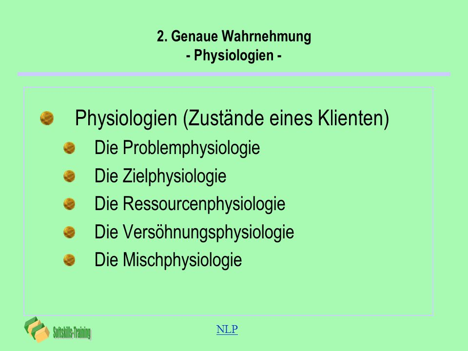 NLP 2. Genaue Wahrnehmung - Physiologien - Physiologien (Zustände eines Klienten) Die Problemphysiologie Die Zielphysiologie Die Ressourcenphysiologie