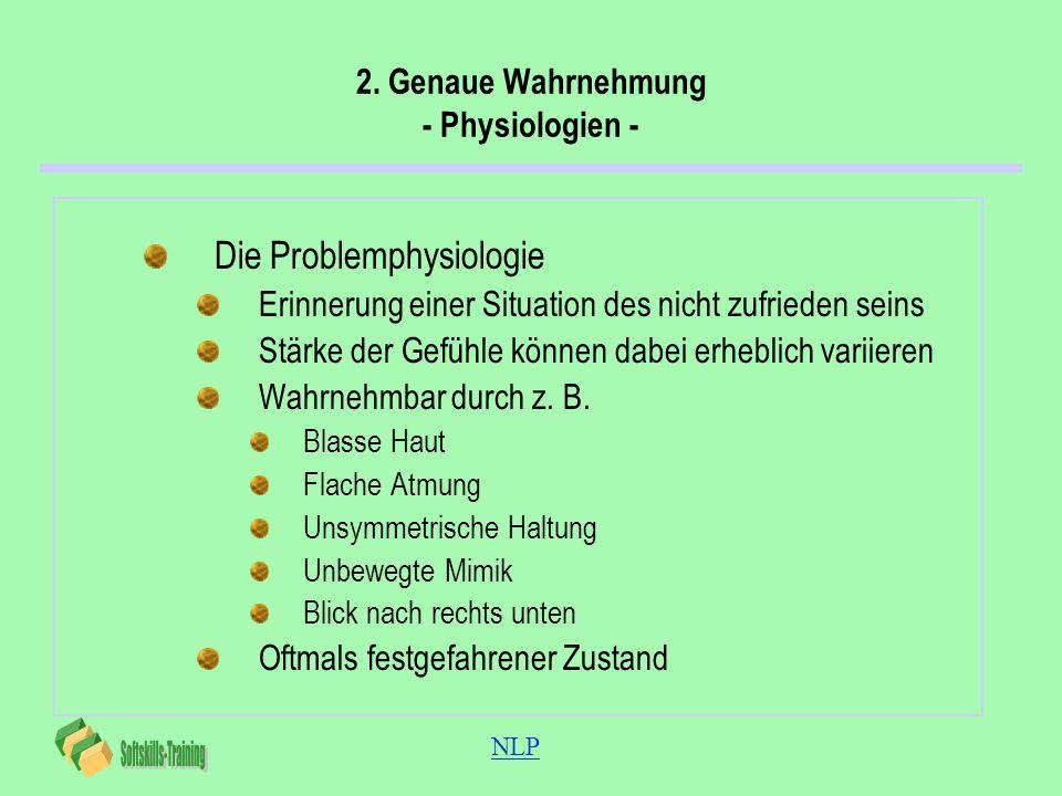 NLP 2. Genaue Wahrnehmung - Physiologien - Die Problemphysiologie Erinnerung einer Situation des nicht zufrieden seins Stärke der Gefühle können dabei