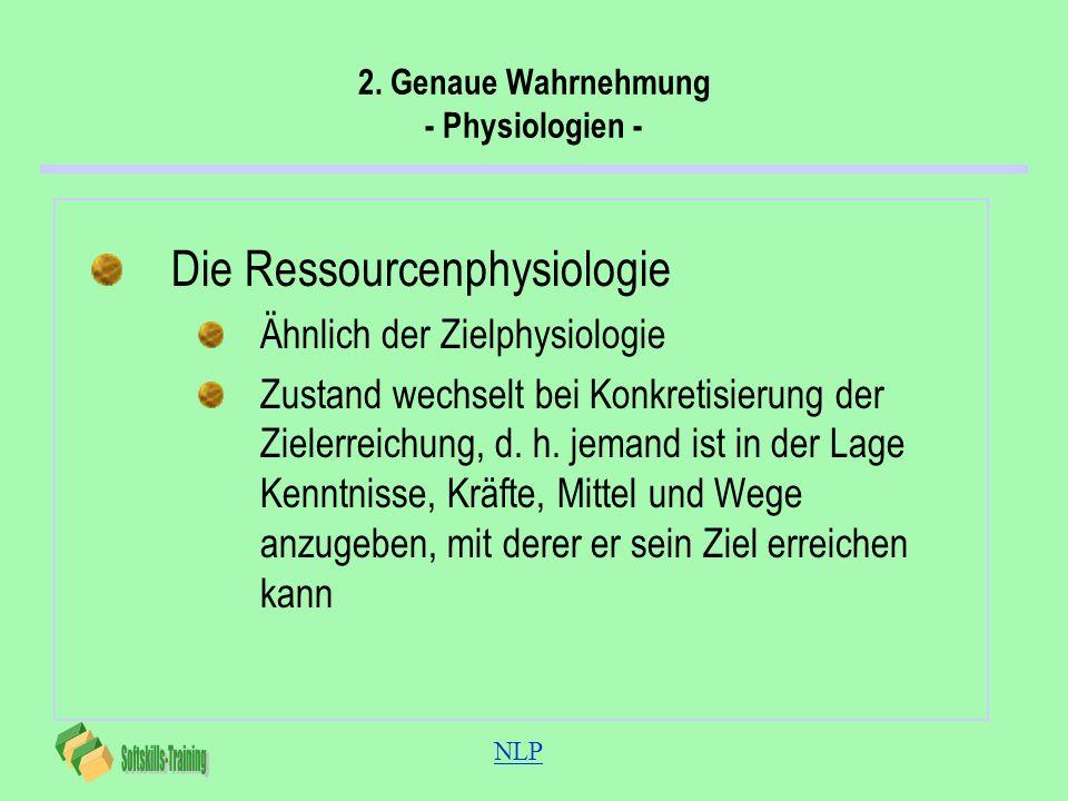 NLP 2. Genaue Wahrnehmung - Physiologien - Die Ressourcenphysiologie Ähnlich der Zielphysiologie Zustand wechselt bei Konkretisierung der Zielerreichu