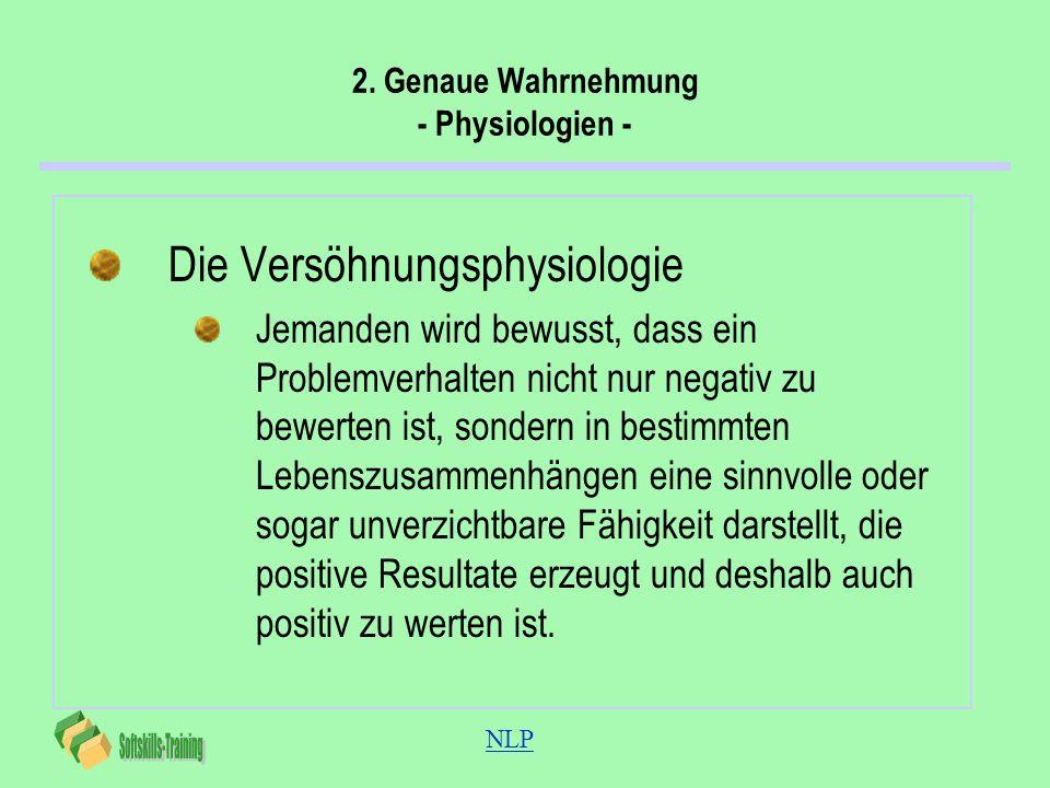 NLP 2. Genaue Wahrnehmung - Physiologien - Die Versöhnungsphysiologie Jemanden wird bewusst, dass ein Problemverhalten nicht nur negativ zu bewerten i
