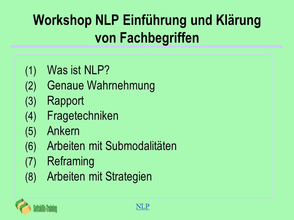 NLP Workshop NLP Einführung und Klärung von Fachbegriffen (1) Was ist NLP? (2) Genaue Wahrnehmung (3) Rapport (4) Fragetechniken (5) Ankern (6) Arbeit