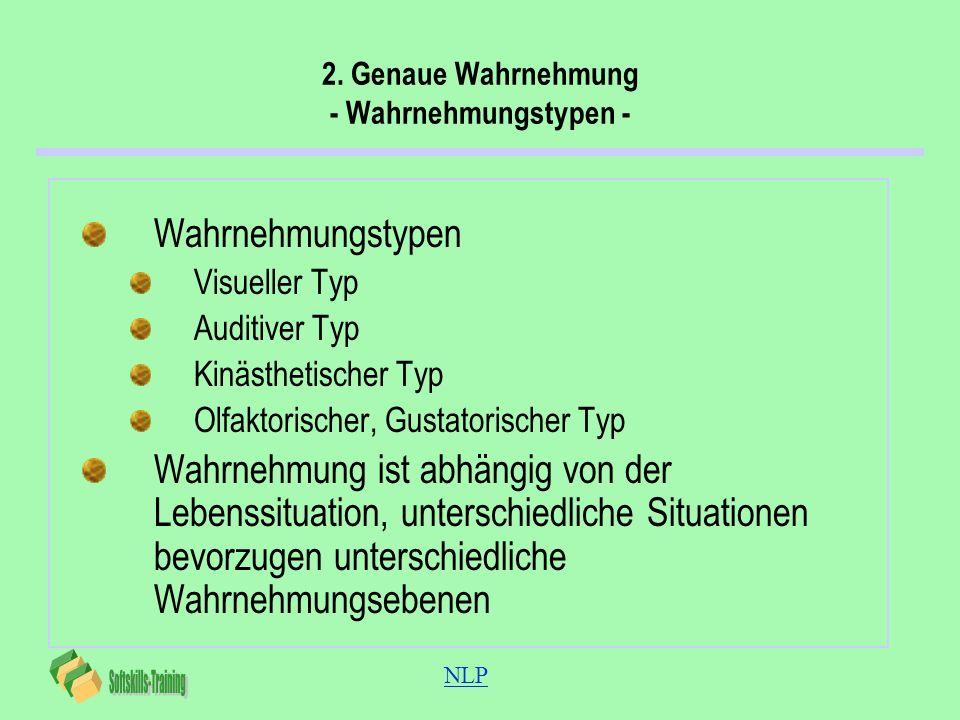 NLP 2. Genaue Wahrnehmung - Wahrnehmungstypen - Wahrnehmungstypen Visueller Typ Auditiver Typ Kinästhetischer Typ Olfaktorischer, Gustatorischer Typ W