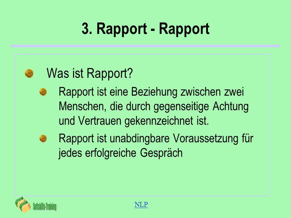 NLP 3. Rapport - Rapport Was ist Rapport? Rapport ist eine Beziehung zwischen zwei Menschen, die durch gegenseitige Achtung und Vertrauen gekennzeichn