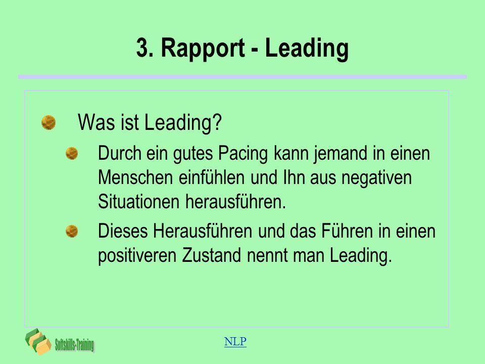NLP 3. Rapport - Leading Was ist Leading? Durch ein gutes Pacing kann jemand in einen Menschen einfühlen und Ihn aus negativen Situationen herausführe