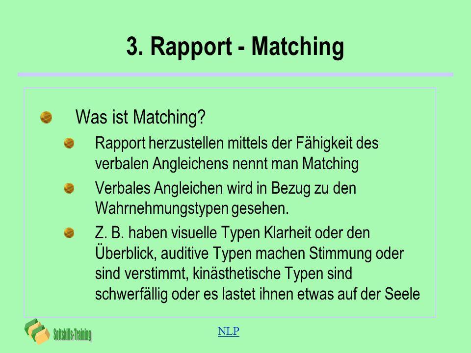 NLP 3. Rapport - Matching Was ist Matching? Rapport herzustellen mittels der Fähigkeit des verbalen Angleichens nennt man Matching Verbales Angleichen