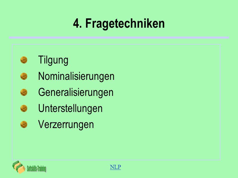 NLP 4. Fragetechniken Tilgung Nominalisierungen Generalisierungen Unterstellungen Verzerrungen