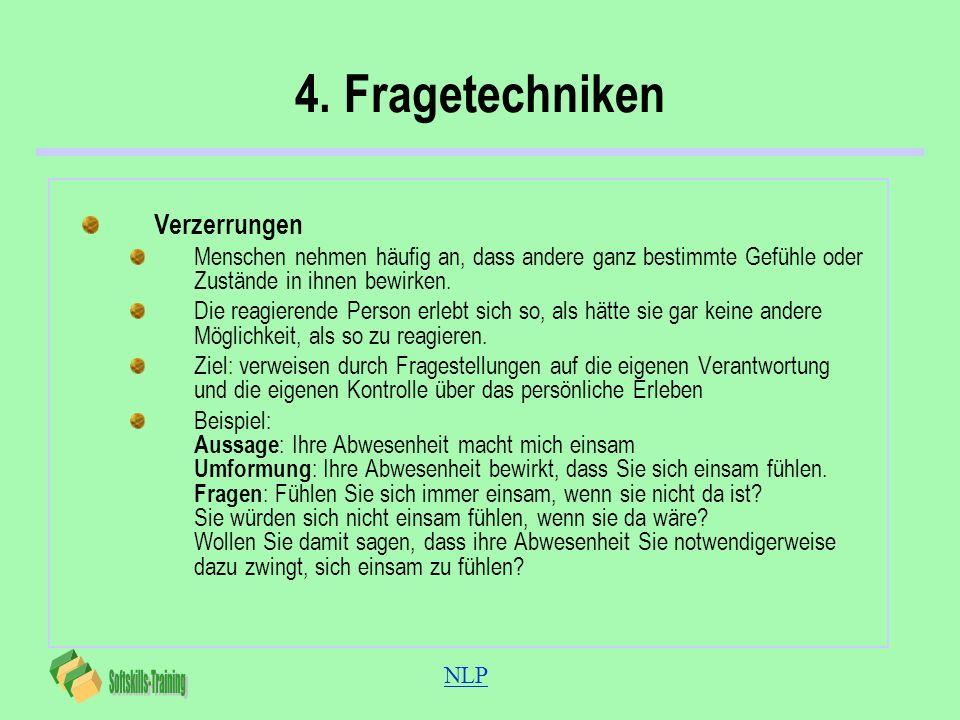 NLP 4. Fragetechniken Verzerrungen Menschen nehmen häufig an, dass andere ganz bestimmte Gefühle oder Zustände in ihnen bewirken. Die reagierende Pers