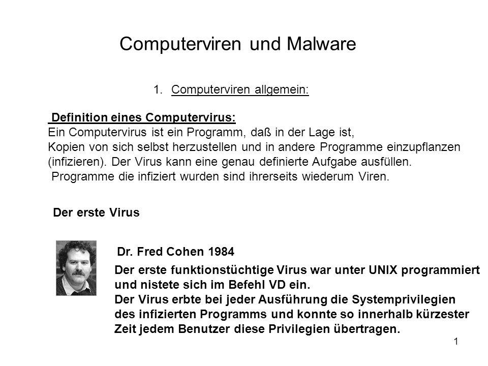 1 Computerviren und Malware 1.Computerviren allgemein: Definition eines Computervirus: Ein Computervirus ist ein Programm, daß in der Lage ist, Kopien