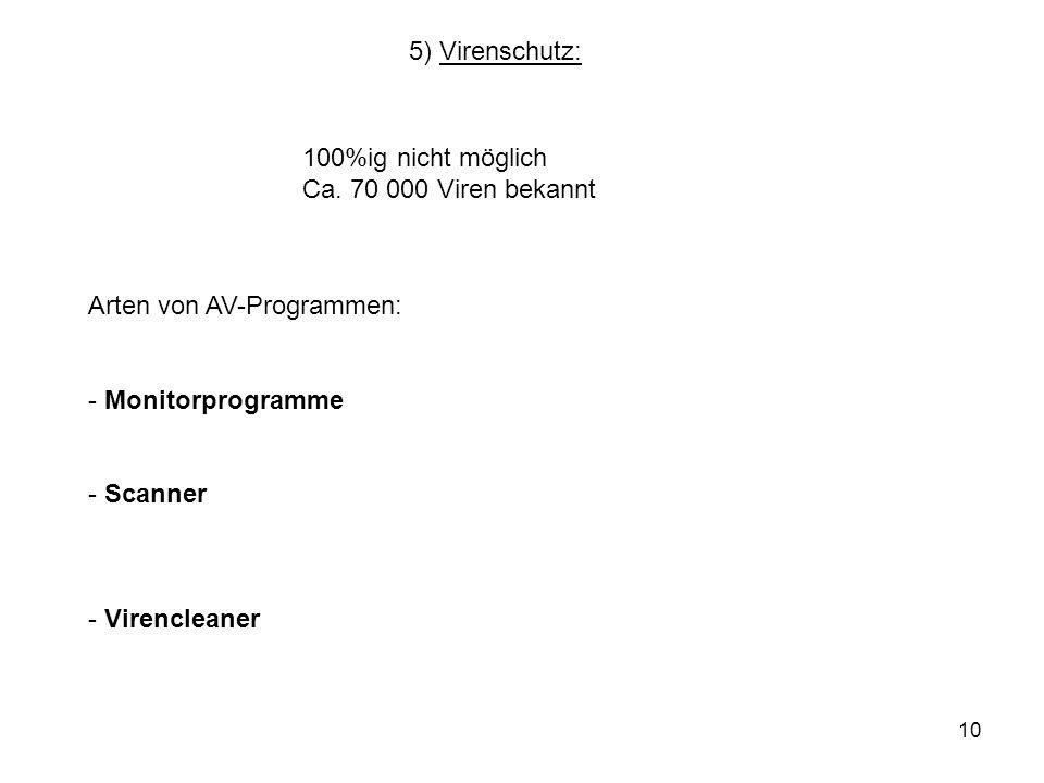 10 5) Virenschutz: 100%ig nicht möglich Ca. 70 000 Viren bekannt Arten von AV-Programmen: - Monitorprogramme - Scanner - Virencleaner