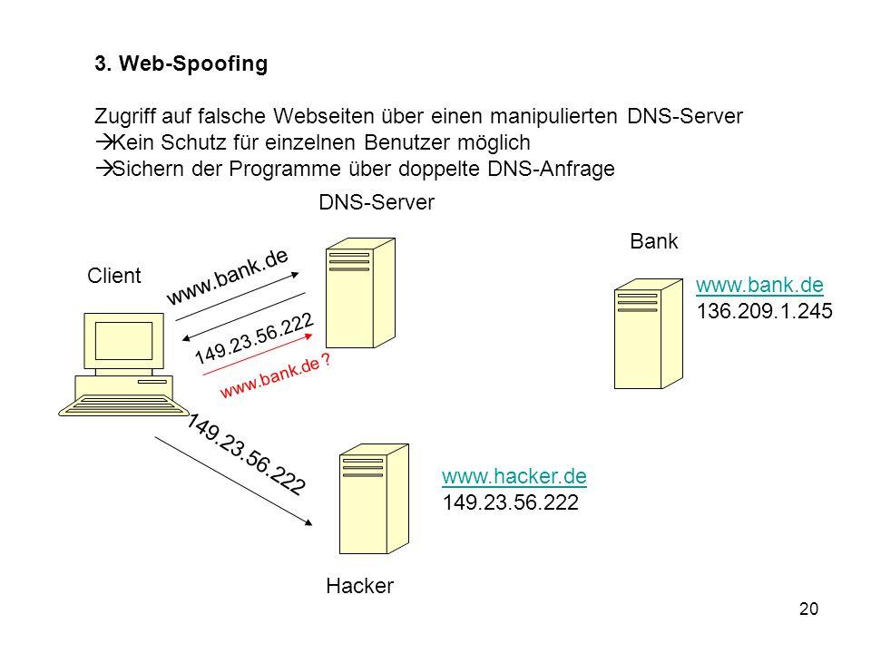 20 3. Web-Spoofing Zugriff auf falsche Webseiten über einen manipulierten DNS-Server Kein Schutz für einzelnen Benutzer möglich Sichern der Programme