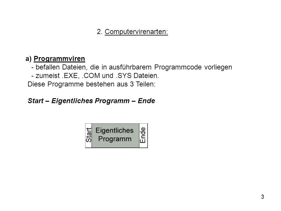 3 2. Computervirenarten: a) Programmviren - befallen Dateien, die in ausführbarem Programmcode vorliegen - zumeist.EXE,.COM und.SYS Dateien. Diese Pro