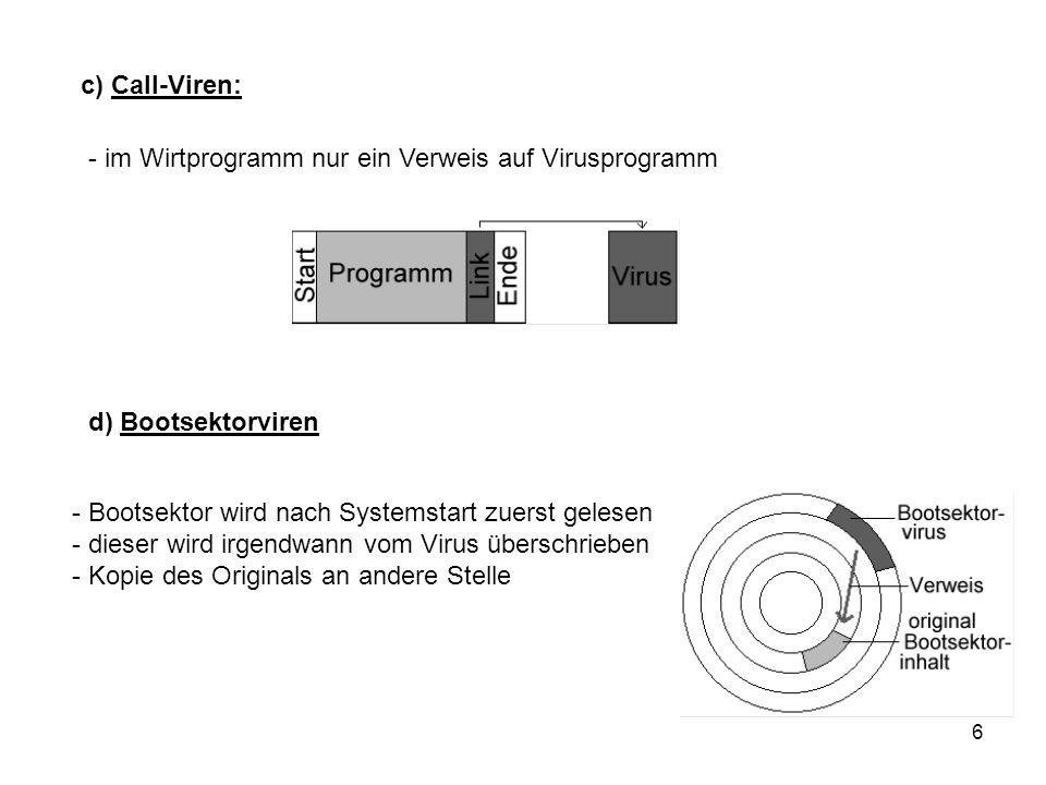 6 c) Call-Viren: - im Wirtprogramm nur ein Verweis auf Virusprogramm d) Bootsektorviren - Bootsektor wird nach Systemstart zuerst gelesen - dieser wir