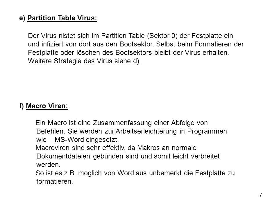 7 e) Partition Table Virus: Der Virus nistet sich im Partition Table (Sektor 0) der Festplatte ein und infiziert von dort aus den Bootsektor. Selbst b