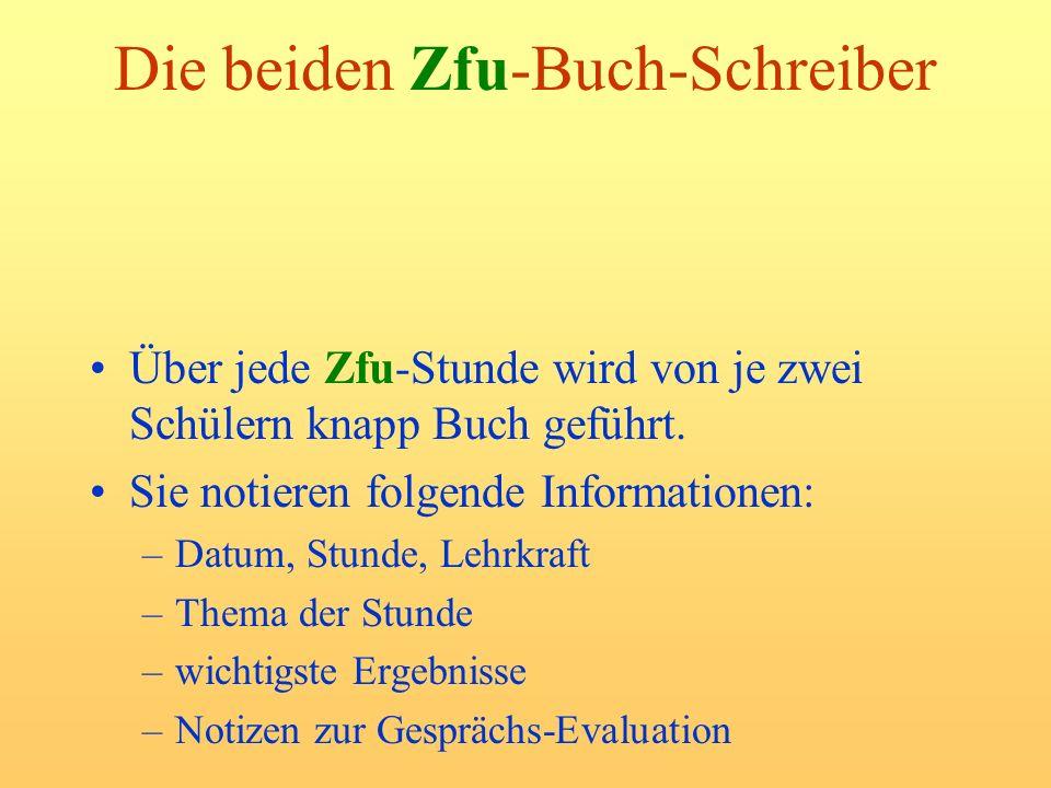 Die beiden Zfu-Buch-Schreiber Über jede Zfu-Stunde wird von je zwei Schülern knapp Buch geführt. Sie notieren folgende Informationen: –Datum, Stunde,