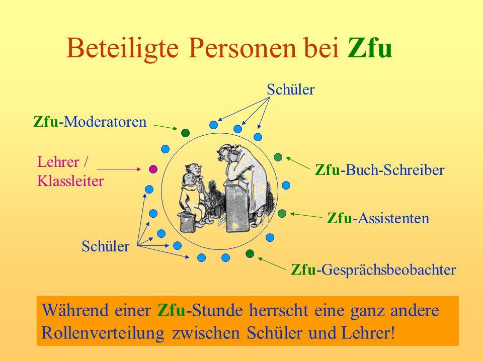 Beteiligte Personen bei Zfu Während einer Zfu-Stunde herrscht eine ganz andere Rollenverteilung zwischen Schüler und Lehrer! Zfu-Assistenten Zfu-Moder