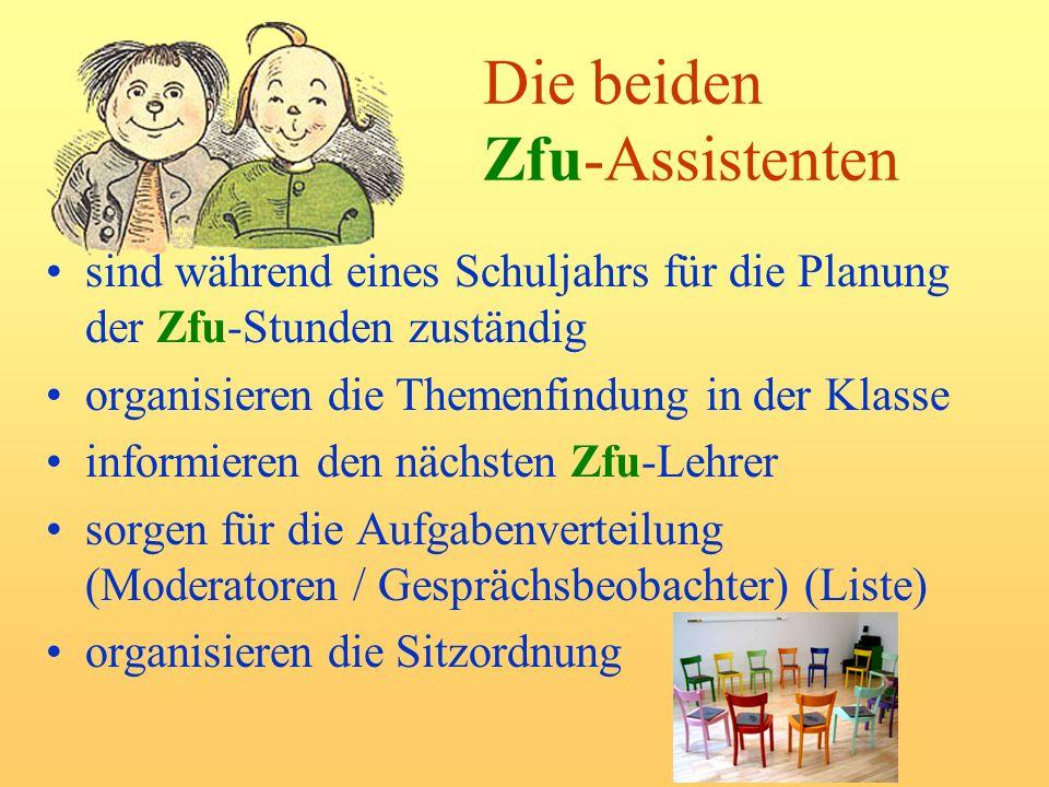 Die beiden Zfu-Assistenten sind während eines Schuljahrs für die Planung der Zfu-Stunden zuständig organisieren die Themenfindung in der Klasse inform