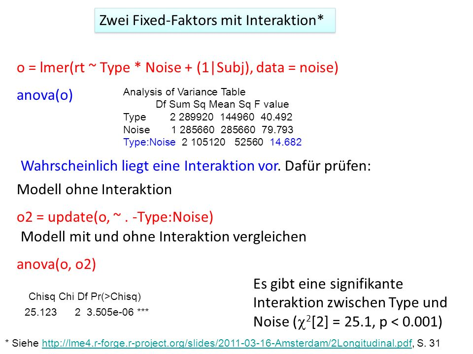 o = lmer(rt ~ Type * Noise + (1|Subj), data = noise) anova(o) Analysis of Variance Table Df Sum Sq Mean Sq F value Type 2 289920 144960 40.492 Noise 1