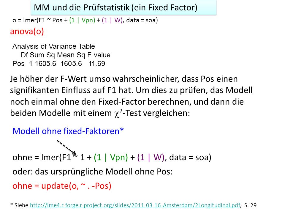o = lmer(rt ~ Type * Noise + (1|Subj), data = noise) anova(o) Analysis of Variance Table Df Sum Sq Mean Sq F value Type 2 289920 144960 40.492 Noise 1 285660 285660 79.793 Type:Noise 2 105120 52560 14.682 Wahrscheinlich liegt eine Interaktion vor.