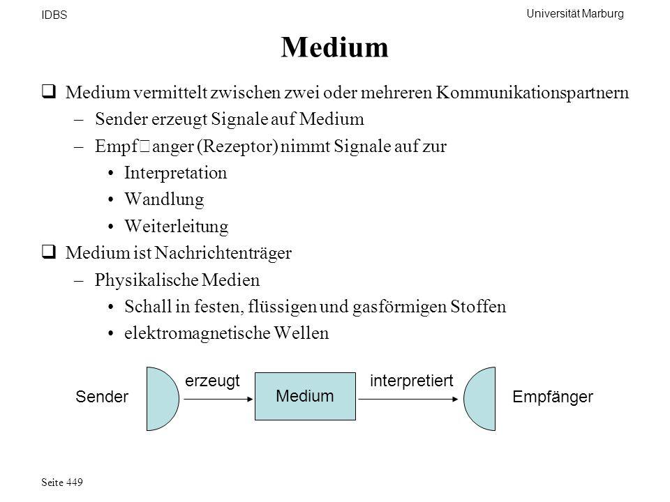 Universität Marburg IDBS Seite 449 Medium Medium vermittelt zwischen zwei oder mehreren Kommunikationspartnern –Sender erzeugt Signale auf Medium –Emp