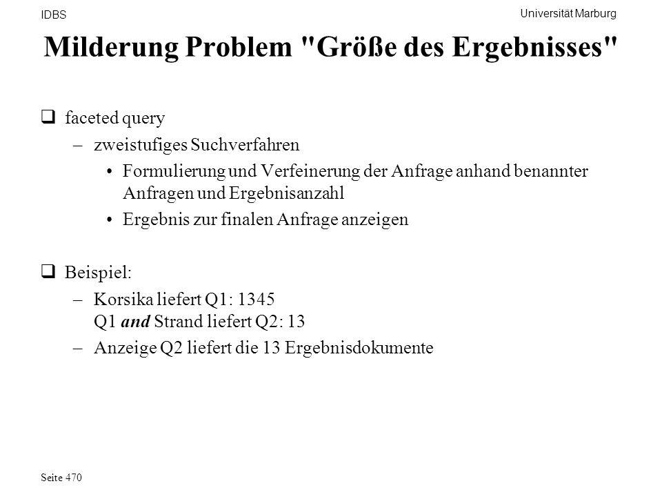Universität Marburg IDBS Seite 470 Milderung Problem