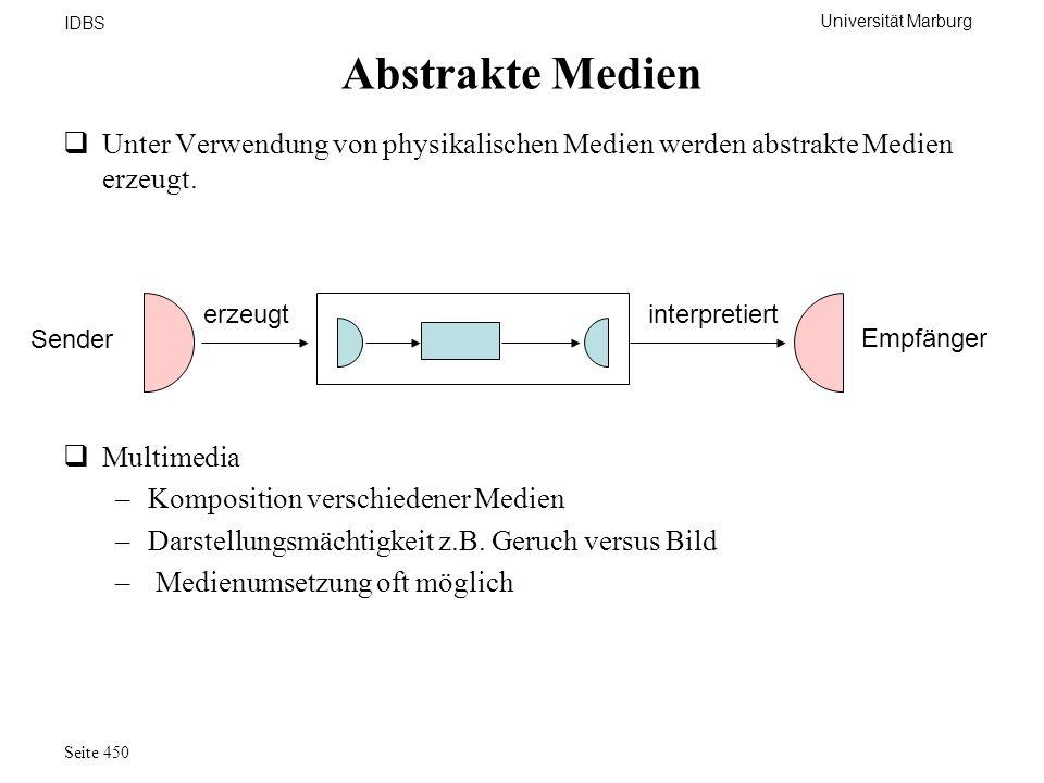 Universität Marburg IDBS Seite 450 Abstrakte Medien Unter Verwendung von physikalischen Medien werden abstrakte Medien erzeugt. erzeugtinterpretiert S