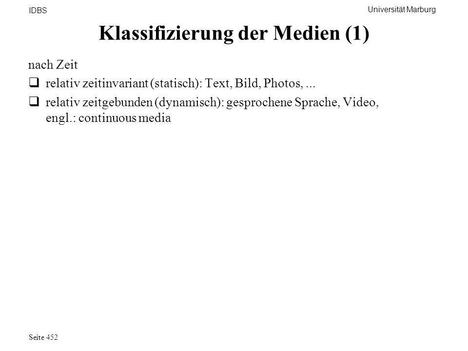 Universität Marburg IDBS Seite 452 Klassifizierung der Medien (1) nach Zeit relativ zeitinvariant (statisch): Text, Bild, Photos,... relativ zeitgebun