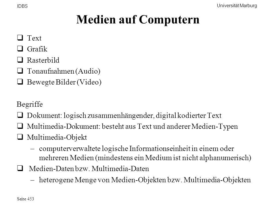 Universität Marburg IDBS Seite 453 Medien auf Computern Text Grafik Rasterbild Tonaufnahmen (Audio) Bewegte Bilder (Video) Begriffe Dokument: logisch