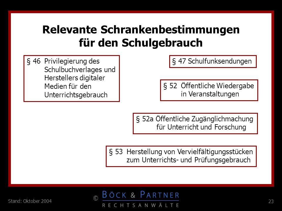 23 © Stand: Oktober 2004 Relevante Schrankenbestimmungen für den Schulgebrauch § 46 Privilegierung des Schulbuchverlages und Herstellers digitaler Med